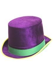 5 1/4in Tall Purple Green Yellow Velvet Top Hat W/1 1/4in Brim