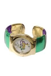 Purple/ Green/ Gold Metallic Cat Eye Mask Cuff Bracelet Style Watch