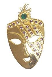 1.25in x 2in Gold Mask w/ Purple/ Green Rhinestone Pin/ Brooch