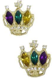 Purple/ Green/ Gold Rhinestone Crown Clip On Earrings