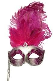 Paper Mache Silver Venetian Masquerade Mask On A Stick with Glitter Accents with Hot Pink Ostrich Fe