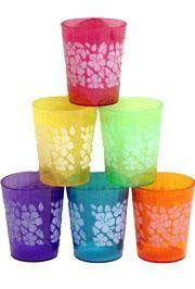 2.5in Plastic Assorted Color Hibiscus Print  Mini Shot Glass