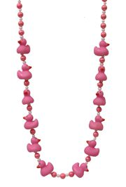 42in Pink Baby Rubber Duck Necklace/ Mini Ducks