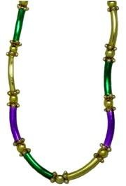 44in Metallic Purple Green Gold Macaroni Necklace
