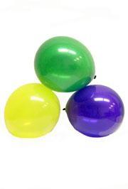 12in Purple Green Yellow Mix Latex Balloons