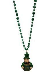 33in Metallic Green Shamrock/ Clover Bead w/ Happy St Pats Day Leprechaun/ Pot of Gold