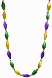 38in Satin Finish Purple Green Gold Jumbo Swirl Necklace