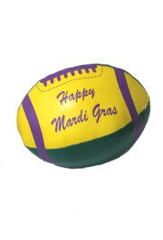 5in x 9in Vinyl Metallic Purple Green Yellow Football w/ Happy Mardi Gras Printing
