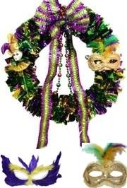 We offer wreaths and wreath work forms which allow you to decorate and make your own wreath - Mardi Gras Wreaths, Tinsel Wreaths, and Mesh Ribbon Wreaths.