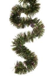 4in Wide x 9ft Metallic Purple Green Gold Tinsel Garland