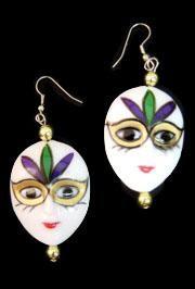 Mardi Gras Face Earrings