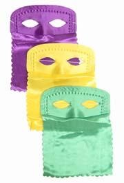 9in x 11in Assorted Purple Green Yellow Satin Veil Half Mask