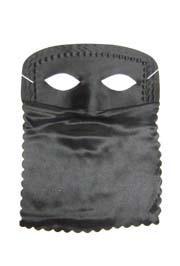 9in x 11in Black Satin Veil Half Mask
