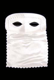 9in x 11in White Satin Veil Half Mask