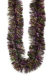 6in Wide x 12ft Metallic Purple Green Gold Wide Tinsel Garland