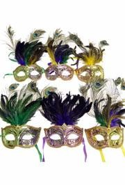 Paper Mache Masquerade Masks: Purple, Green, or Gold Feathered Masks