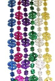 36in Metallic Assorted Color Dollar Sign Beads
