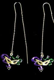 Mardi Gras Cat Eye Mask Threader Earrings