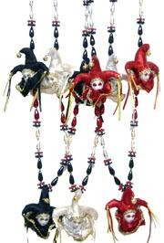 42in Assorted Red/ Black/ Silver Jester Hat Necklace
