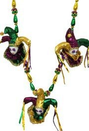 Jester beads and mask beads are the essence of Mardi Gras. The mask are traditional Mardi Gras wear and have made their way to the decorative beads and necklaces.
