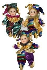 11in Tall x 7in Wide Assorted Styles Mardi Gras Jester Doll