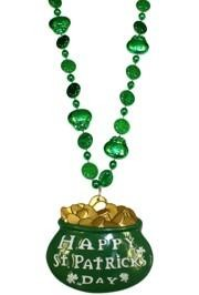 33in Shamrock and Pot of Gold Bead w/3in Happy St. Patricks Day Medallion