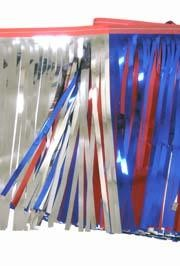 60ft x 12in Metallic Red/ Metallic Blue/ Silver Fringe