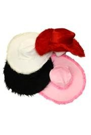 4in Tall Assorted Velvet Show Daddy/ Pimp Hat w/ Fur Trim