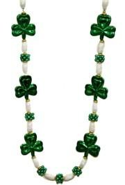 48in Green Clovers w/ White AB Seashell Beads