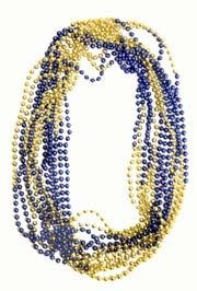 33in 7mm Round 4 Section Metallic Blue/ Metallic Gold Beads