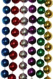 Inexpensive 33 inch Mardi Gras throw beads are most popular option for Carnival parade krewes