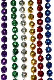 7mm 33in Assorted Metallic Mardi Gras Beads
