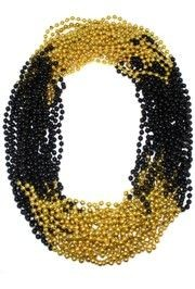 33in 7mm Round 4 Section Black Clear Coat/ Metallic Gold Beads