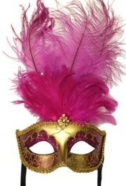 Hot Pink and Gold Venetian Masquerade Mask with Hot Pink Large Ostrich Feathers