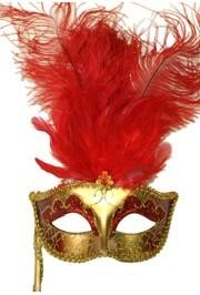Gold Venetian Masquerade Mask On A Stick With Red Large Ostrich Feathers