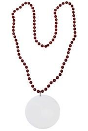 Customizable 3in Medallion Red Necklace