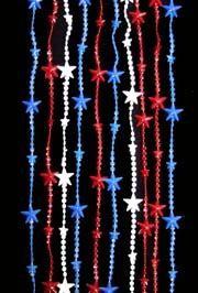 8ft x 3ft Patriotic Plastic Beaded Curtain w/ Star
