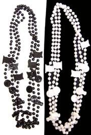36in Black Clear Coat/ White Pearl Mix Racing Car/ Tire/ Flag Beads
