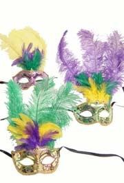 Purple Green and Yellow Hand Painted Venetian Masquerade Mask With Feathers