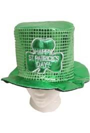9in Tall Shamrock Sequin Top Hat
