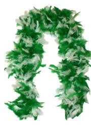 Complete your St. Patrick's Day costume with a Feather Boa!  We carry Green and White Feather boas, solid Green Boas, White Boas, and Green Ostrich Plumes to add to the decorations.