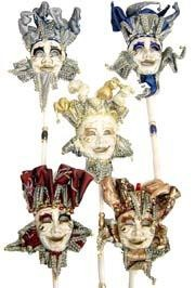 Assorted Color Venetian Faces on Sticks