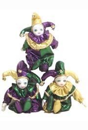 8in Tall x 6 3/4in Wide Assorted Metallic Purple Green Gold Baby Jester Doll