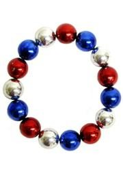 12mm Round Metallic Red/ Blue/ Silver Bracelets