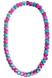 36in Metallic Purple Pink Turquoise Fantasy Festival Flat Round Diamond Cut Necklace