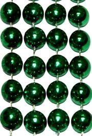 72in 16mm Round Metallic Green Beads