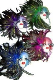 14in Tall x 12 3/4in Wide Including Feathers Assorted Color Porcelain Face Mask W/ Beaded Necklace