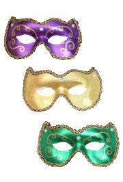Eye Masquerade Masks: Assorted Color Mardi Gras Lamei Masks