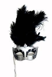 Silver and Black Venetian Masquerade Mask on a Stick with Black Large Ostrich Feathers