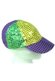 5 1/2in Tall Adult Mardi Gras Sequin Baseball Cap